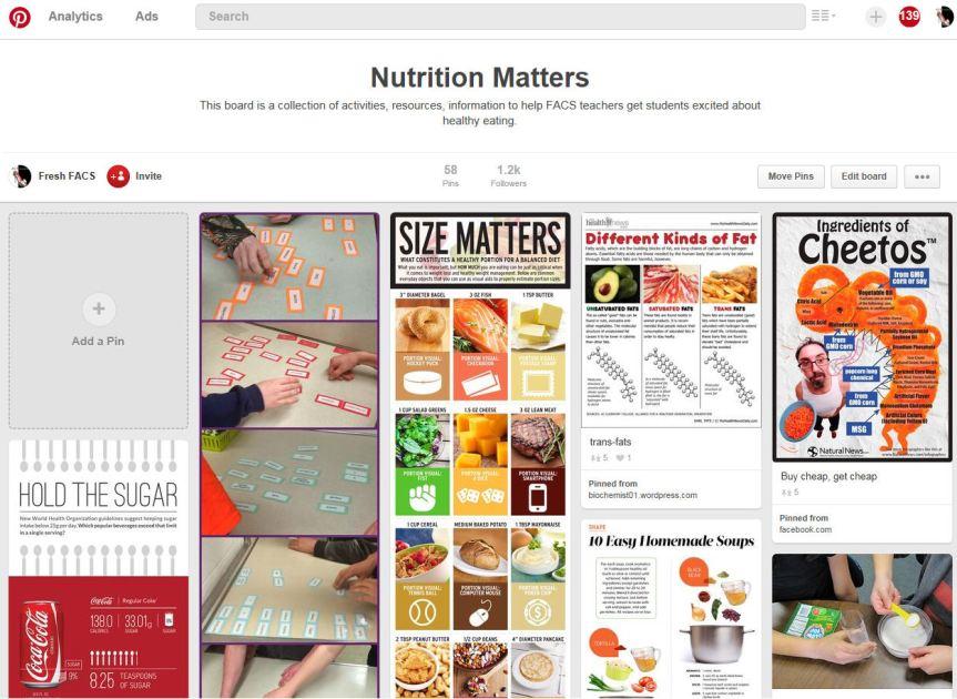 Nutrition Matters board